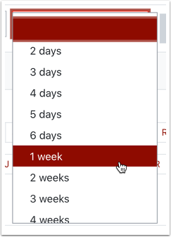 log in time period selection