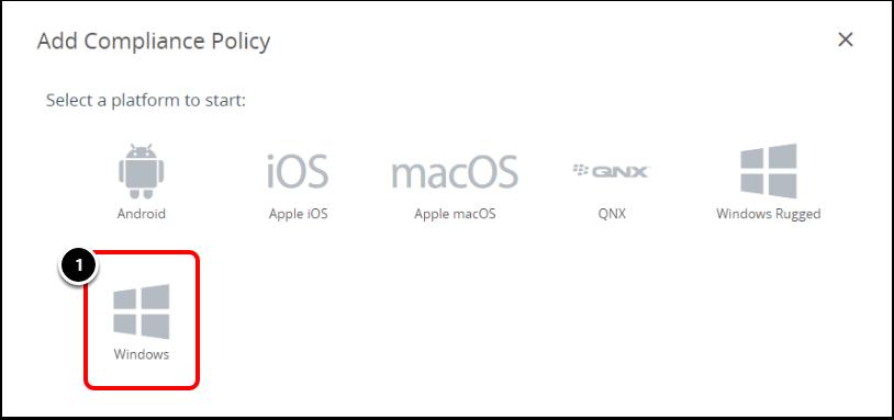 Select the Windows platform in Workspace ONE UEM for BitLocker encryption.