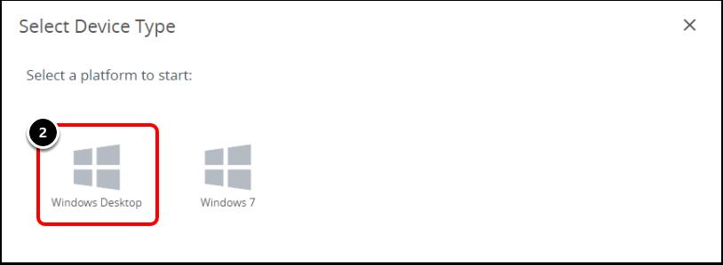 Select the Windows Desktop in Workspace ONE UEM when configuring Windows 10 BitLocker.