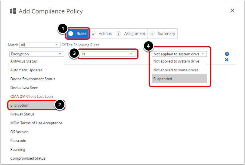 Add Compliance Policy Rule in Workspace ONE UEM when configuring BitLocker for Windows 10.