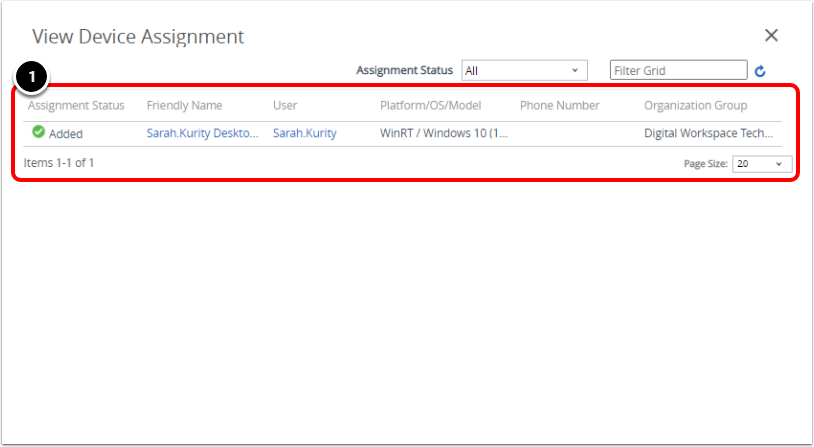 View Device Policy Assignment in Workspace ONE UEM for Windows 10 BitLocker.