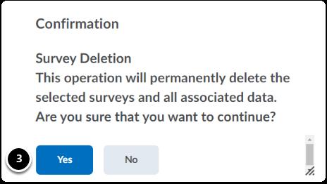Confirmation pop up to delete a survey