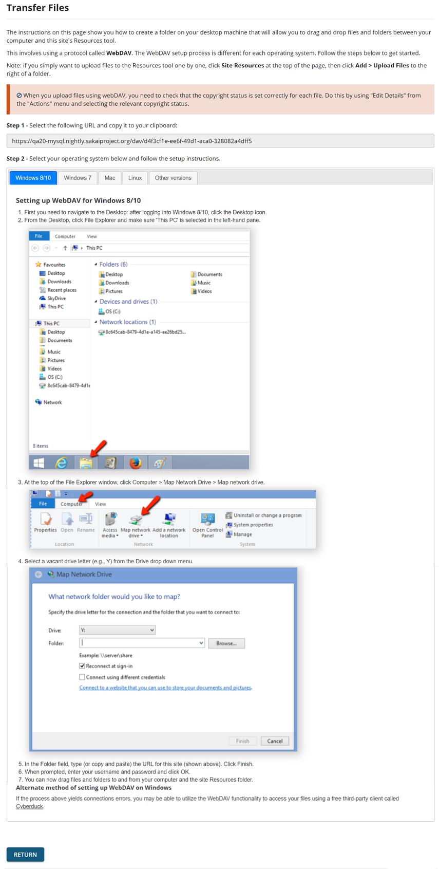 Image of the steps to set up WebDAV