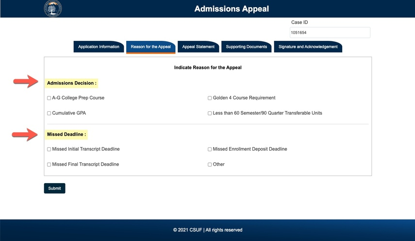 Arrows pointing to Admissions Decision and Missed Deadline sections