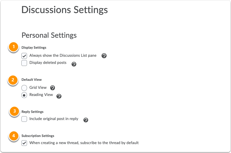 Discussions Settings - Person and Org Unit settings