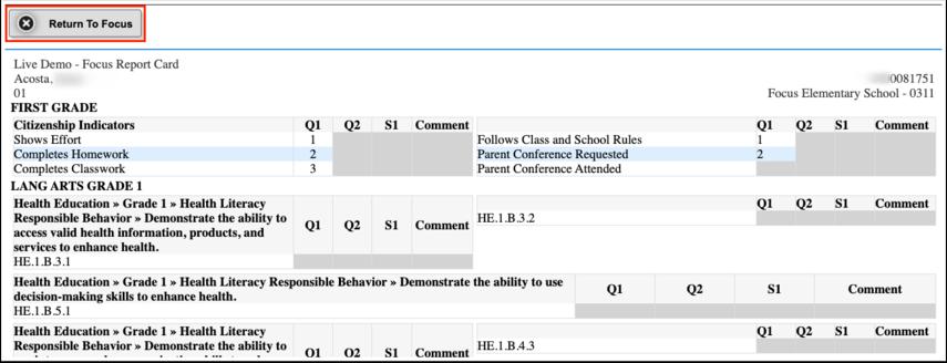 Standard Grades Report Cards