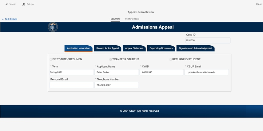 Admissions Appeal page