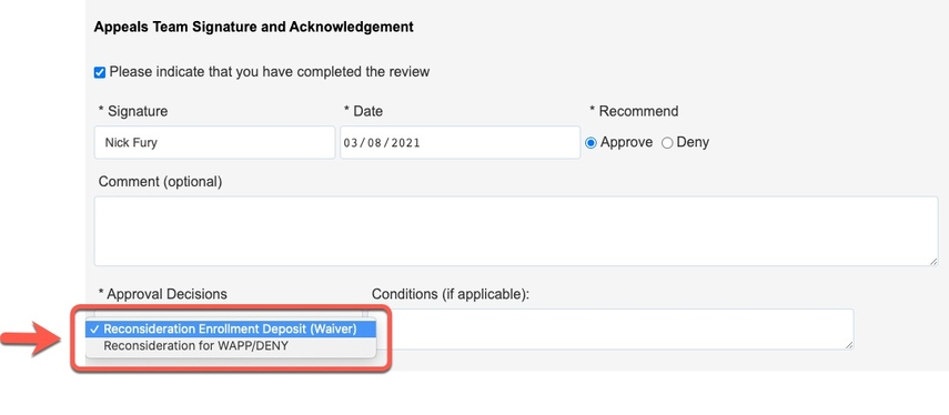 Arrow pointing to Approval Decisions options
