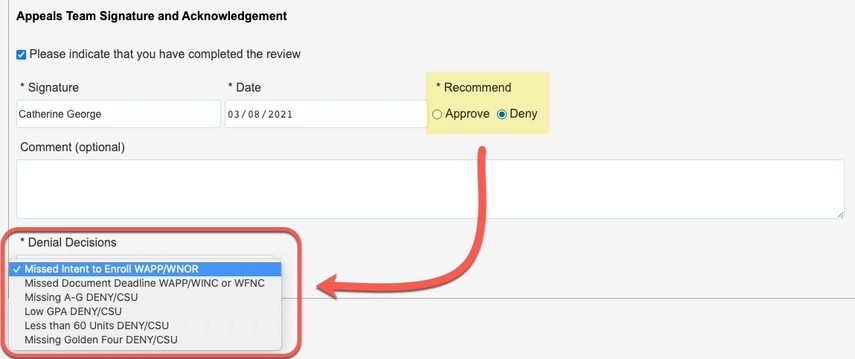 Arrow pointing to Denial Decisions options
