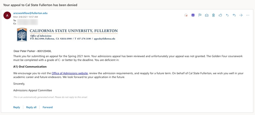 Decision email