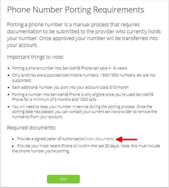 ServiceM8 - Phone Number Porting Wizard - Google Chrome