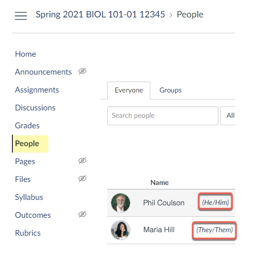 People page highlighting pronoun appearance