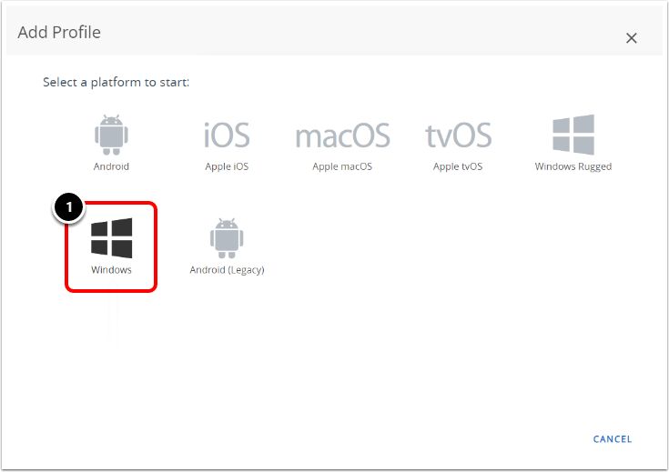 Select the Windows Platform in Workspace ONE UEM admin console when configuring BitLocker encryption.