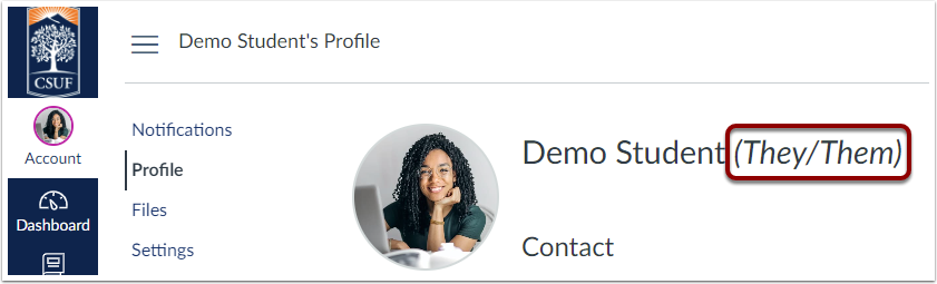 Pronouns are highlighted next to the student's name in the profile page