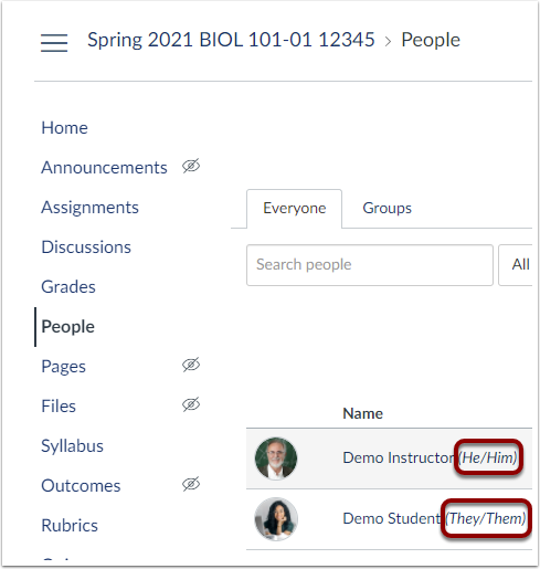 Pronouns are highlighted after enrolled user names