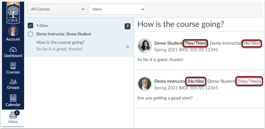 Pronouns are highlighted after the sender and recipient names in inbox conversations