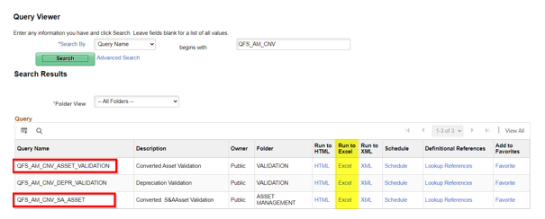Query Viewer with QFS_AM_CNV_ASSET_VALIDATION highlighted