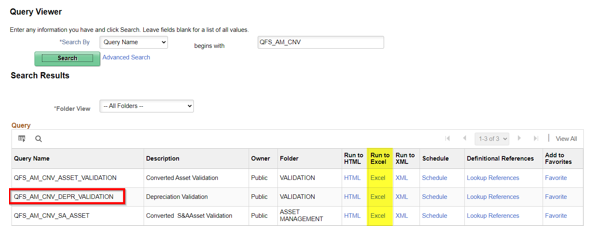 Query Viewer with QFS_AM_CNV_DEPR_VALIDATION highlighted