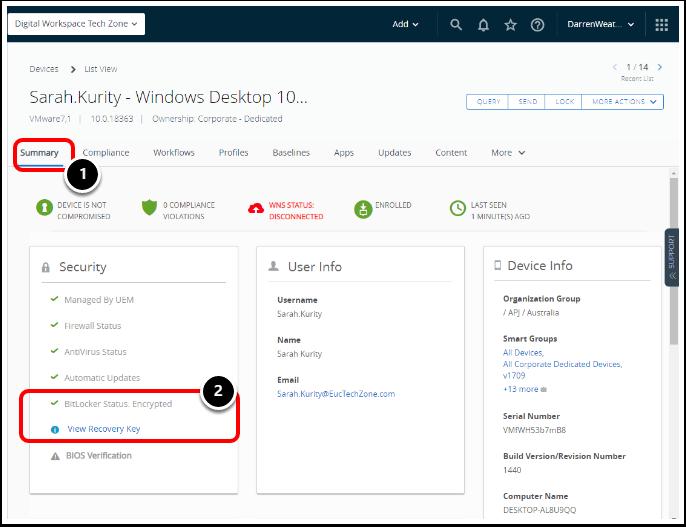 Encryption Status for Windows 10 BitLocker inWorkspace ONE UEM Device Details Tab.