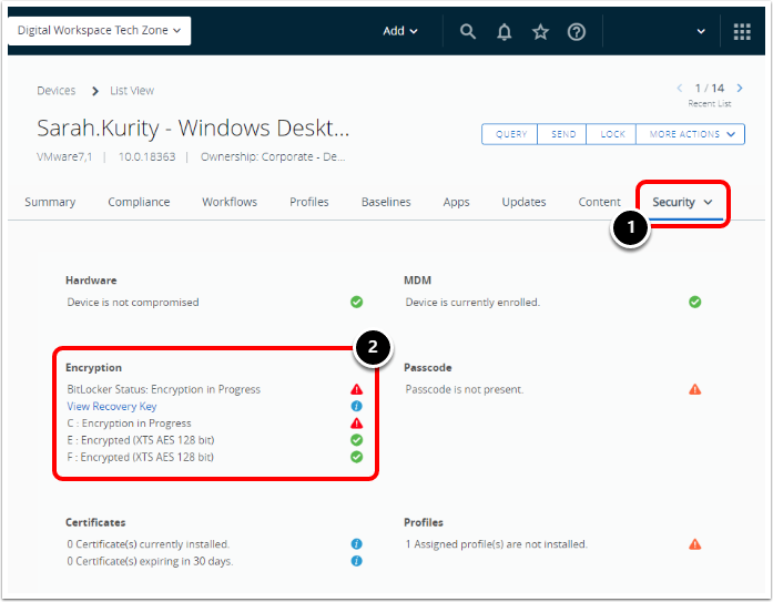 Check Windows 10 BitLocker Encryption Status in Workspace ONE UEM Device Security Tab.