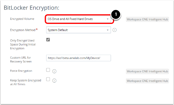 Review BitLocker Encryption Policy in Workspace ONE UEM.