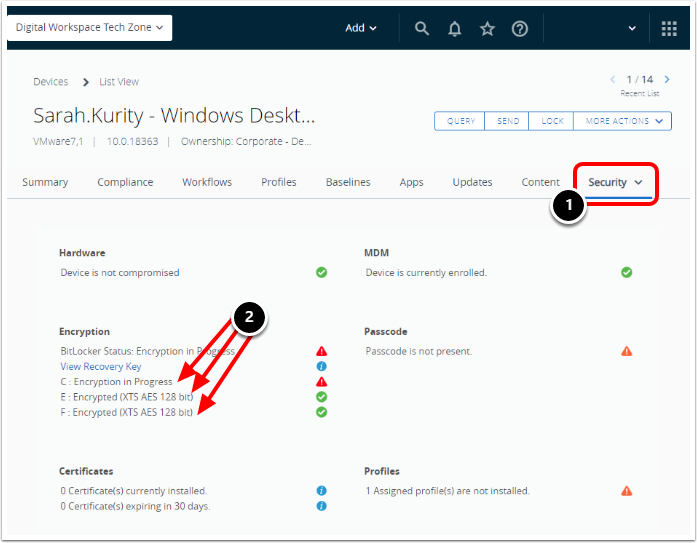 Review Windows 10 BitLocker Encryption Status in the Workspace ONE UEM Device Security Tab.