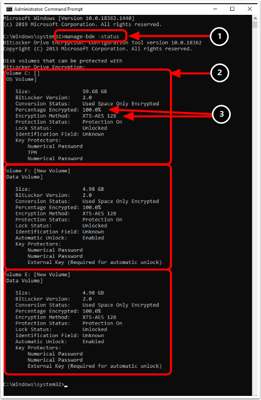 Confirm BitLocker Encryption in Elevated Command Prompt (Optional)