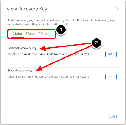 Review BitLocker recovery keys for multiple hard drives in the Workspace ONE UEM Console.