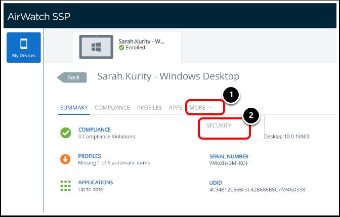 Accessing BitLocker Recovery Keys in the Self service portal.