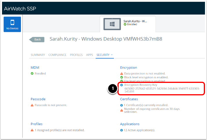 Accessing Recovery Key in the Self service portal