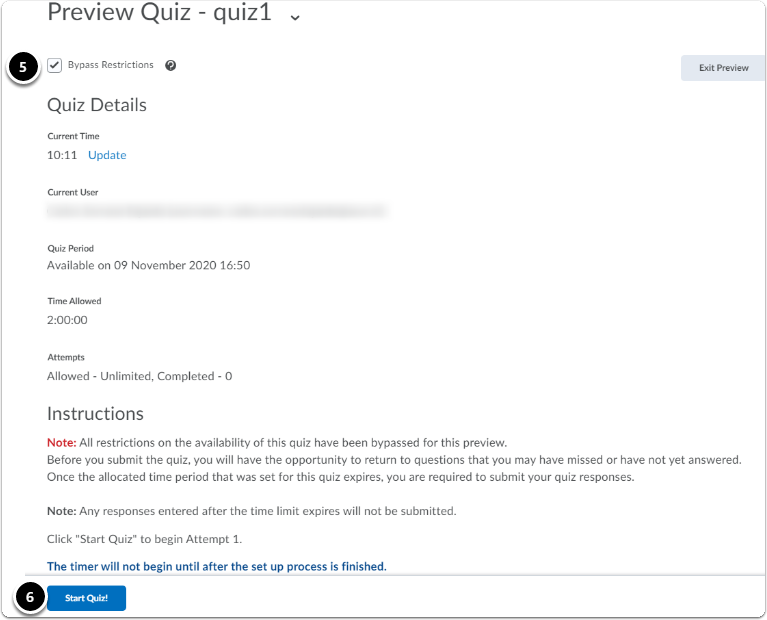 overall quiz preview, click start quiz