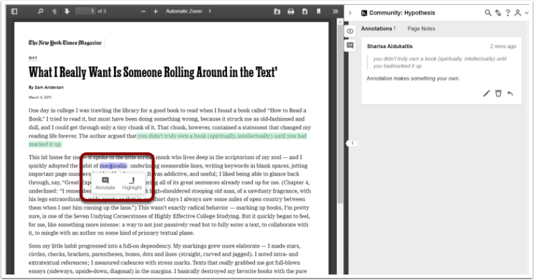 UVACollab : Community: Hypothesis : Student Resources - Google Chrome
