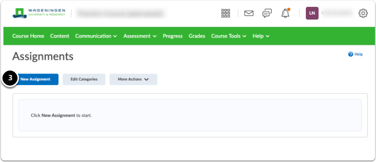 Assignments homepage - create New assignment