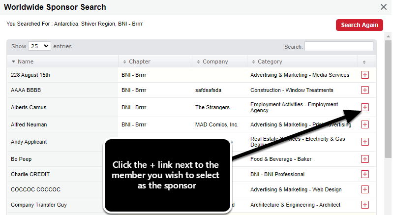 Sponsor Search Results