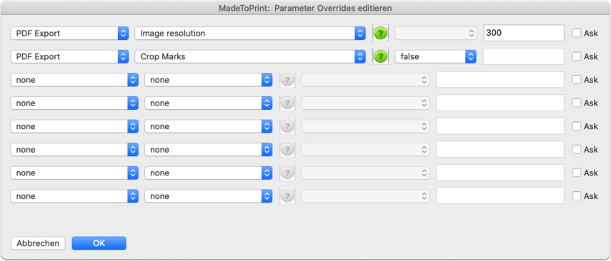 MadeToPrint:  Parameter Overrides editieren