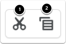 Click on scissors to cut, and document sheets to copy
