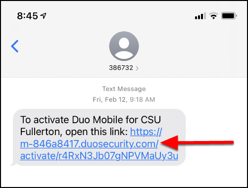 Duo mobile activation link