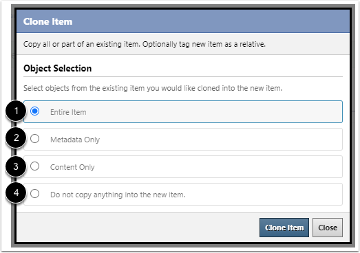 Select Clone Options