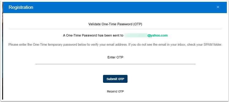 Enter the One-Time Password sent email