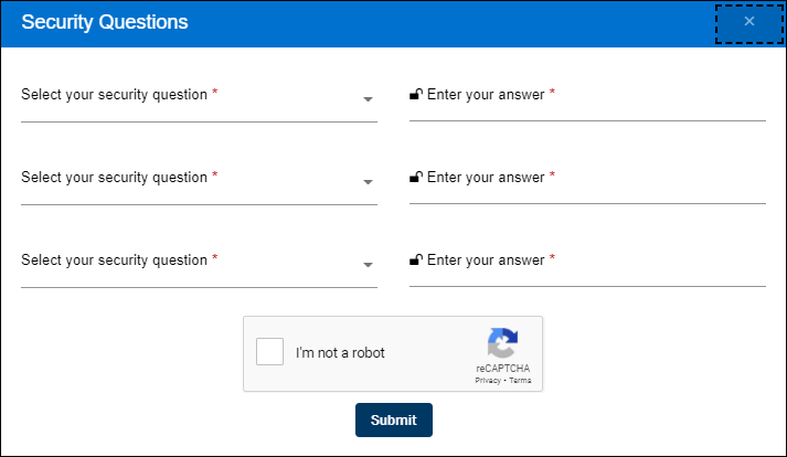 Security Questions page
