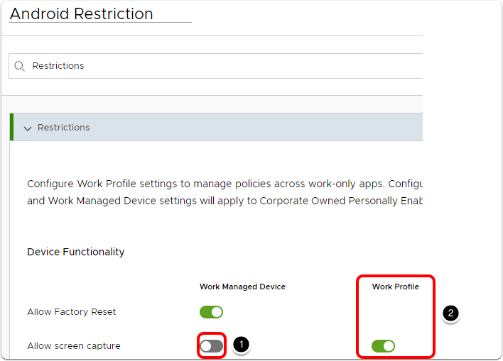 Manage Android devices and configure restrictions for profile