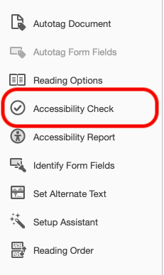 Accessibility Check button highlighted in the menu