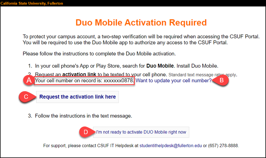 Duo Mobile Activation screen