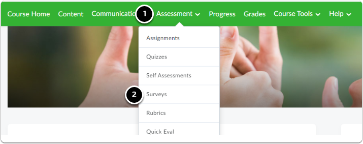 Navigate to Assessment, a drop-down menu will appear click on Surveys