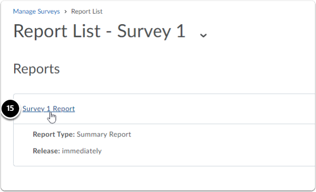 Report List page, click on the Survey Report name
