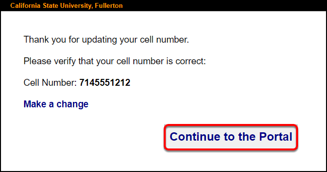 submit updated cell number