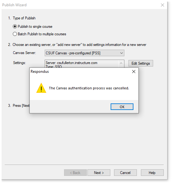 Canvas authentication process was cancelled message