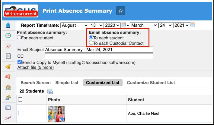 Print Absence Summary