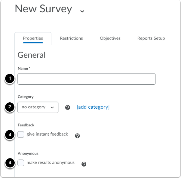 new survey page, general section under properties