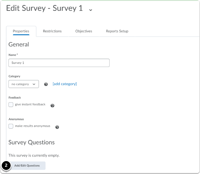 Edit Survey page - scroll down to section Survey Questions, click on Add/Edit Questions